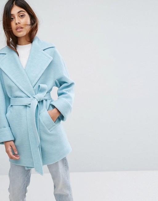 Lichtblauwe wollen jas van Helene Berman