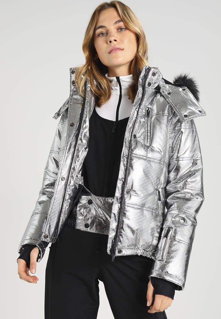 Zilveren blinkende ski jas van Topshop